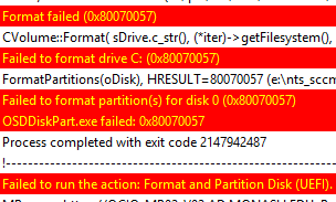 Format failed (0x80070057) during task sequence  | HappySCCM