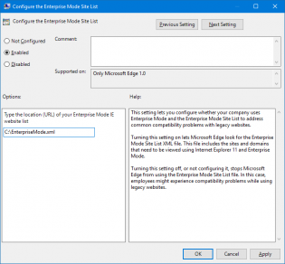 enterprise mode group policy
