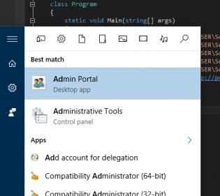 admin portal shortcut